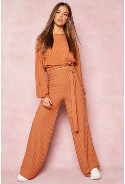 Tan Recycled Wide Leg Tie Waist Rib Trousers