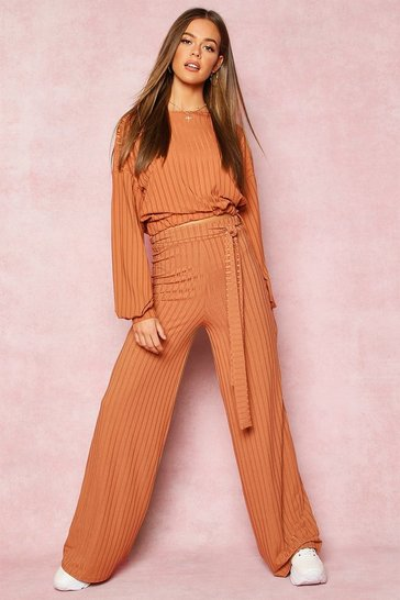 Womens Tan Recycled Wide Leg Tie Waist Rib Trousers
