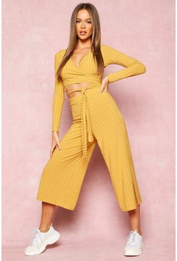 Womens Mustard Recycled Wrap Front Rib Crop & Culottes