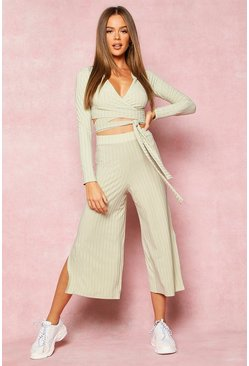 Womens Olive Recycled Wrap Front Rib Crop & Culottes
