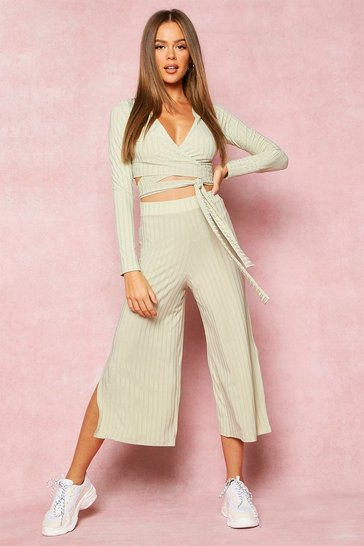 Olive Recycled Wrap Front Rib Crop & Culottes
