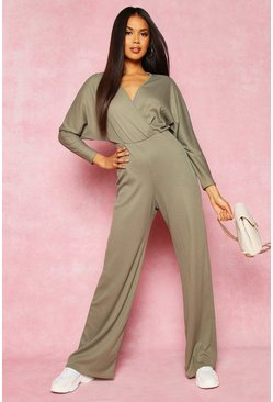Womens Olive Recycled Plunge Wide Leg Rib Jumpsuit