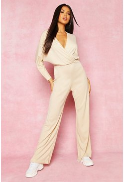 Womens Stone Recycled Plunge Wide Leg Rib Jumpsuit
