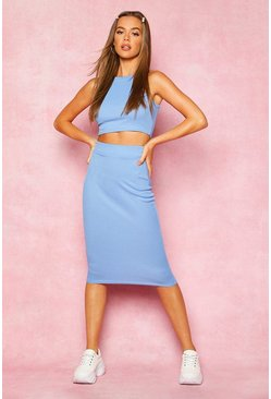 Womens Blue Recycled High Neck Rib Crop Top & Midi Co-Ord