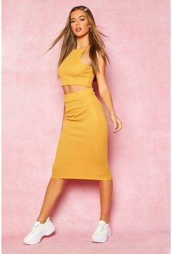Dam Mustard Recycled High Neck Rib Crop Top & Midi Co-Ord