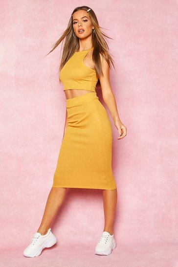 Womens Mustard Recycled High Neck Rib Crop Top & Midi Co-Ord