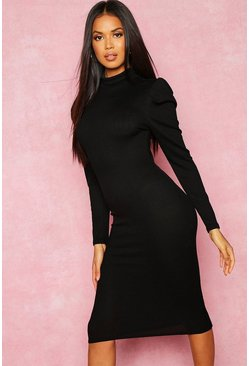 Womens Black Recycled High Neck Puff Sleeve Midi Dress