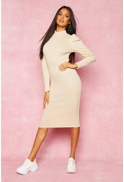 Womens Stone Recycled High Neck Puff Sleeve Midi Dress