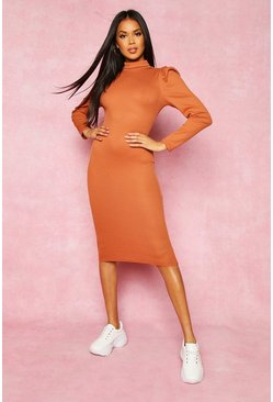 Tan Recycled High Neck Puff Sleeve Midi Dress