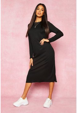 Womens Black Recycled Rib Side Split Tunic