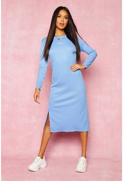 Womens Blue Recycled Rib Side Split Tunic