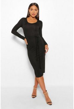 Womens Black Recycled Tie Waist Rib Midi Dress