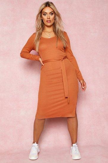 Tan Recycled Tie Waist Rib Midi Dress