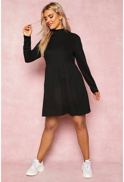 Black Recycled Rib Roll Neck Smock Dress