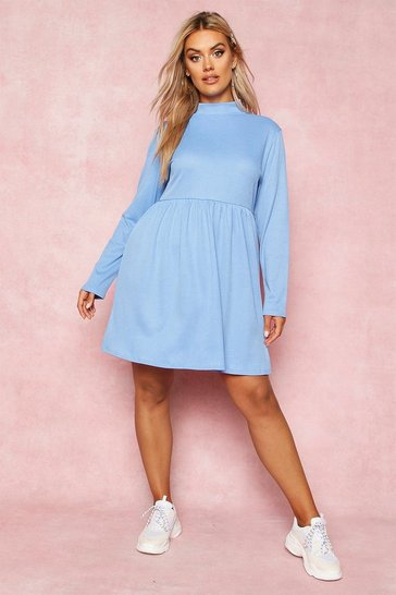 Blue Recycled Rib Roll Neck Smock Dress
