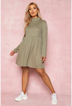 Olive Recycled Rib Roll Neck Smock Dress