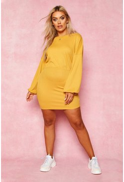Mustard Recycled Balloon Sleeve Rib Mini Dress
