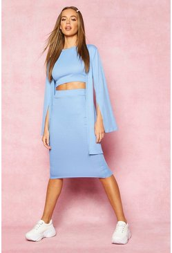 Womens Blue Recycled Rib Flare Sleeve Cover Up