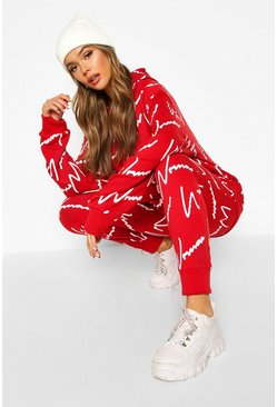 Womens Red Woman All Over Print Hooded Tracksuit