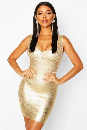 Womens Gold Metallic Plunge Bandage Dress