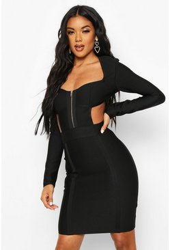 Black Zip Front Cup Detail Bandage Dress