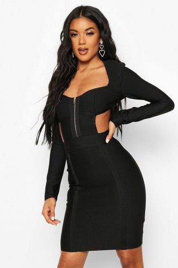 Womens Black Zip Front Cup Detail Bandage Dress