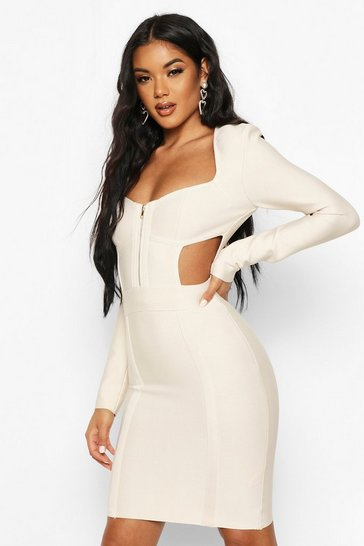 Champagne Zip Front Cup Detail Bandage Dress