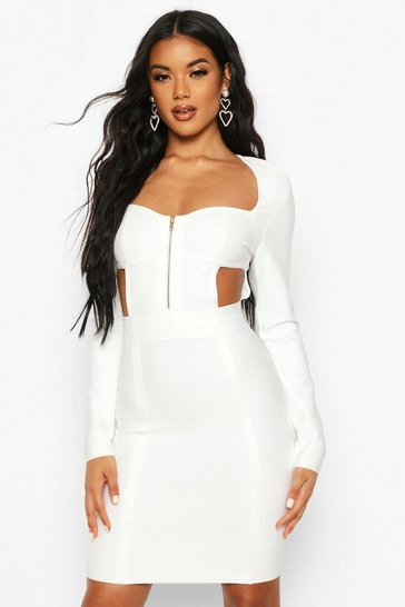 Womens Cream Zip Front Cup Detail Bandage Dress