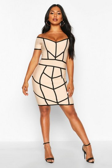 Stone Off Shoulder Seam Detail Bandage Dress