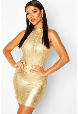Womens Gold High Neck Metallic Bandage Dress