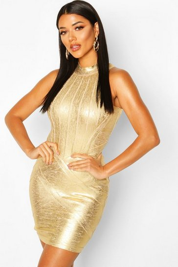Gold High Neck Metallic Bandage Dress