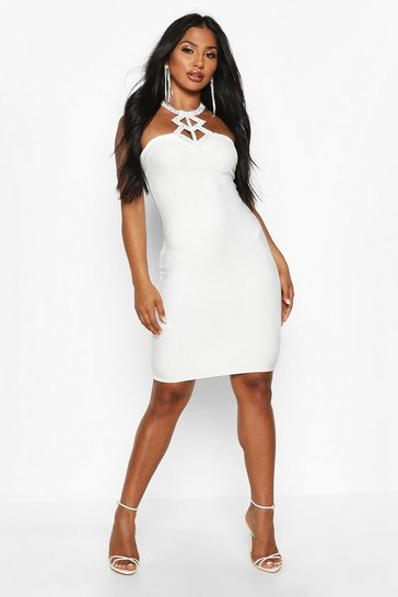 Womens Cream Diamante Neck Detail Bandage Dress