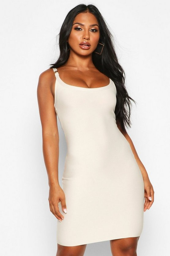 Champagne Gold Buckle Detail Bandage Dress
