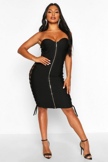 Womens Black Zip Front Strapless Bandage Dress