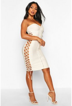 Champagne Zip Front Strapless Bandage Dress