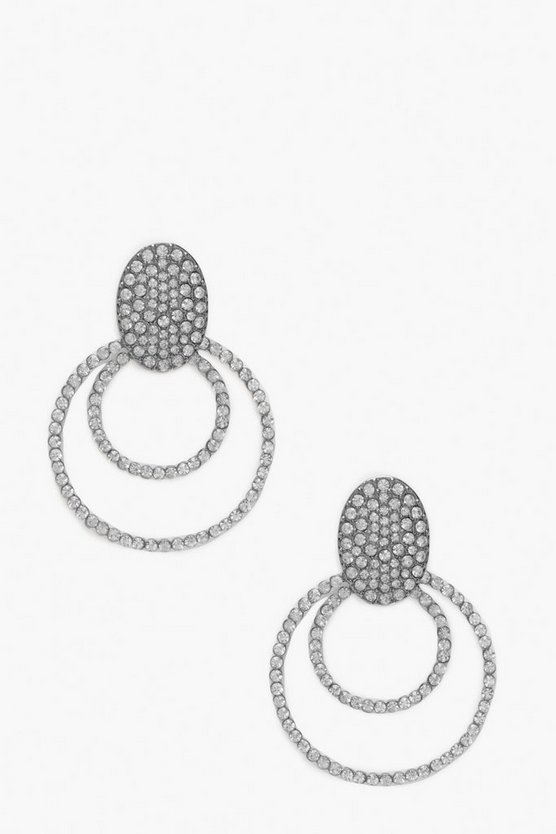 Diamante Open Circle Stud Statement Earrings