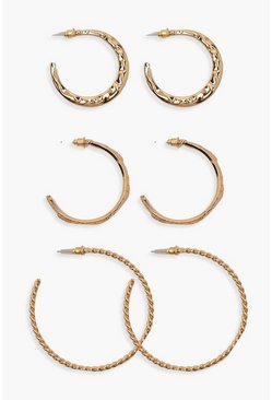 Womens Gold Mixed Texture Hoop Pack