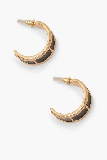 Womens Black & Gold Contrast Hoop Earrings