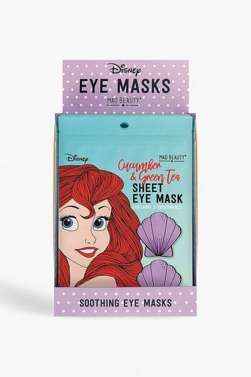 Womens Blue Disney Ariel Cucumber & Green Tea Eye Mask