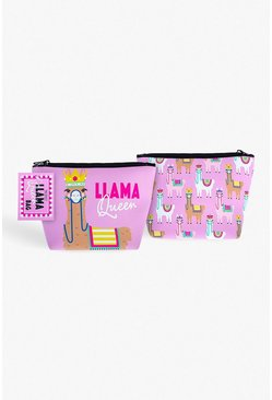 Womens Pink Llama Queen Cosmetics Bag