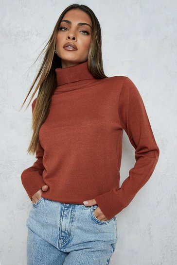Womens Chestnut Roll Neck Knitted Jumper