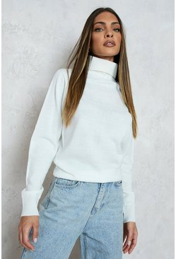 Cream Roll Neck Knitted Jumper