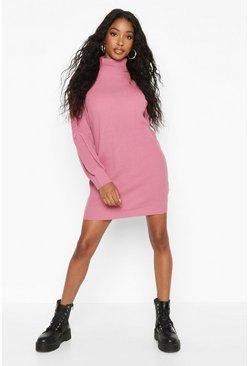 Womens Antique rose Roll Neck Blouson Sleeve Jumper Dress