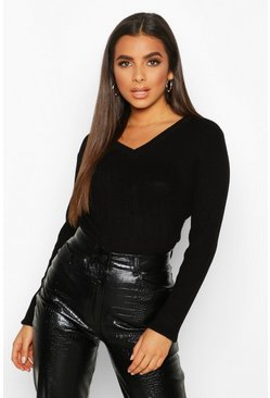 Womens Black V Neck Rib Knit Jumper