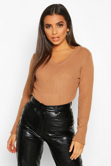 Womens Toffee V Neck Rib Knit Jumper