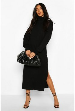Black Midi Roll Neck Jumper Dress