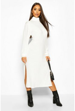 Cream Midi Roll Neck Jumper Dress