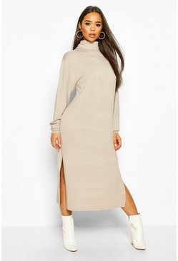 Mushroom Midi Roll Neck Jumper Dress