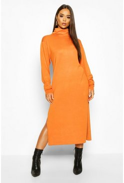 Toffee Midi Roll Neck Jumper Dress