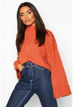 Womens Chestnut Wide Sleeve Rib Knit Jumper